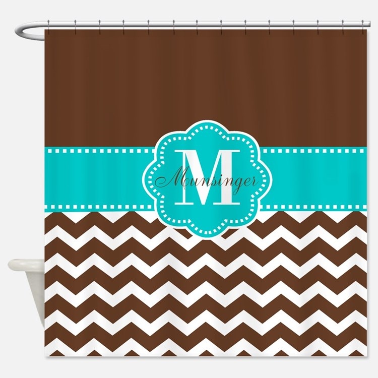Teal Brown Shower Curtains | Teal Brown Fabric Shower Curtain Liner