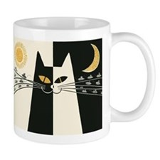 Black and White Cat; Vintage Poster Mugs