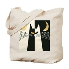 Black and White Cat; Vintage Poster Tote Bag