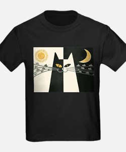Black and White Cat; Vintage Poster T-Shirt