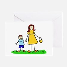 Mother and Son (Redhead) Greeting Cards