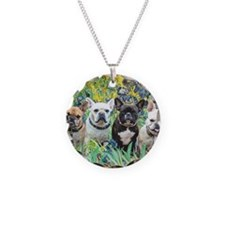 Cute French bulldog Necklace Circle Charm