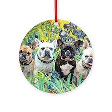 Cute Black french bulldog Round Ornament