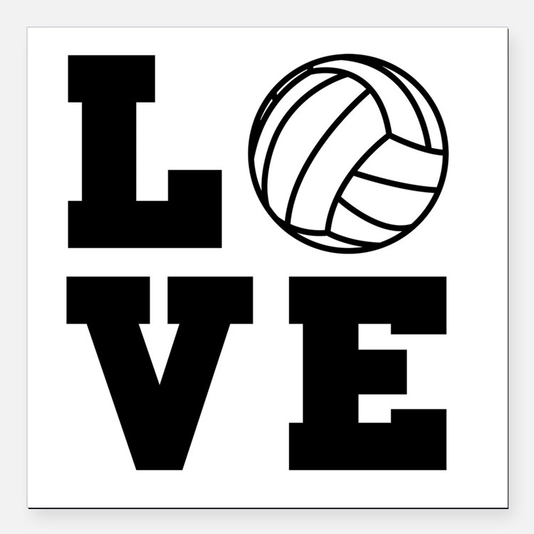 """Volleyball love Square Car Magnet 3"""" x 3"""""""