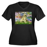 Lilies & Golden Women's Plus Size V-Neck Dark T-Sh