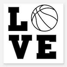 "Basketball love Square Car Magnet 3"" x 3"""
