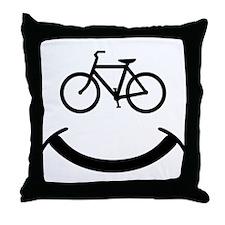 Bicycle smile Throw Pillow