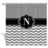 Monogram gray Shower Curtains