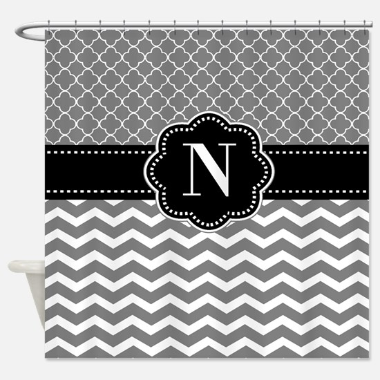 Gray Black Chevron Quatrefoil Monogram Shower Curt