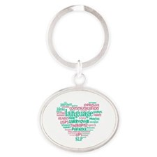 SLP Heart - Pink and Green Oval Keychain