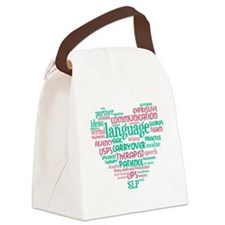 SLP Heart - Pink and Green Canvas Lunch Bag