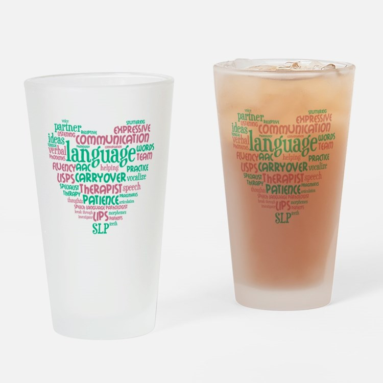 SLP Heart - Pink and Green Drinking Glass