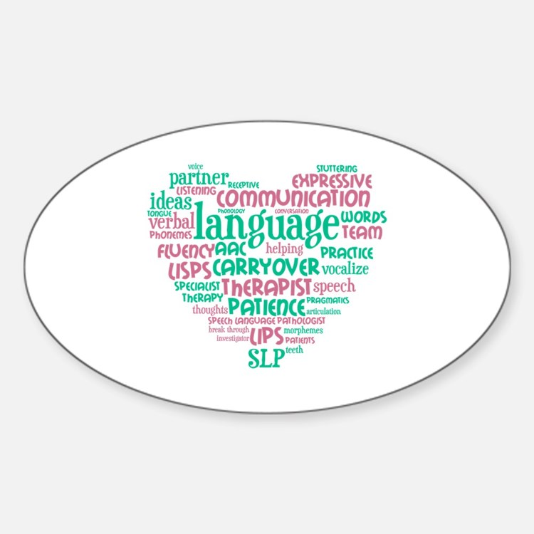 SLP Heart - Pink and Green Decal