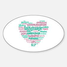 SLP Heart - Pink and Green Sticker (Oval)