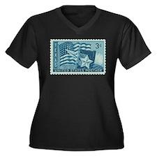 Texas Stamp Women's Plus Size V-Neck Dark T-Shirt