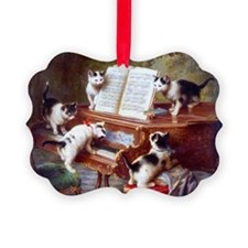 Cats on a Piano; Vintage Poster Ornament