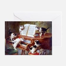 Cats On A Piano; Vintage Poster Greeting Cards