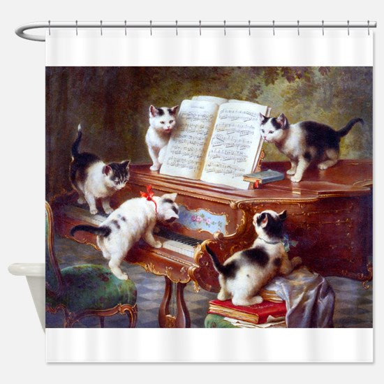 Cats On A Piano; Vintage Poster Shower Curtain