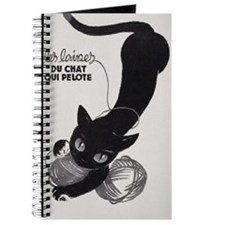 Cat and Yarn; French Vintage Poster Journal