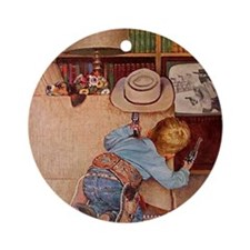 Cowboy and Television; Vintage Poster Ornament (Ro
