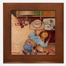 Cowboy and Television; Vintage Poster Framed Tile