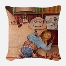 Cowboy and Television; Vintage Poster Woven Throw