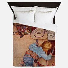 Cowboy and Television; Vintage Poster Queen Duvet