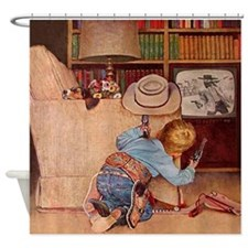Cowboy And Television; Vintage Shower Curtain