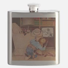 Cowboy and Television; Vintage Poster Flask