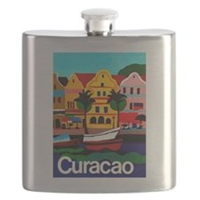 Curacao; Travel Vintage Poster Flask