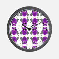 Purple Owls with bow Wall Clock