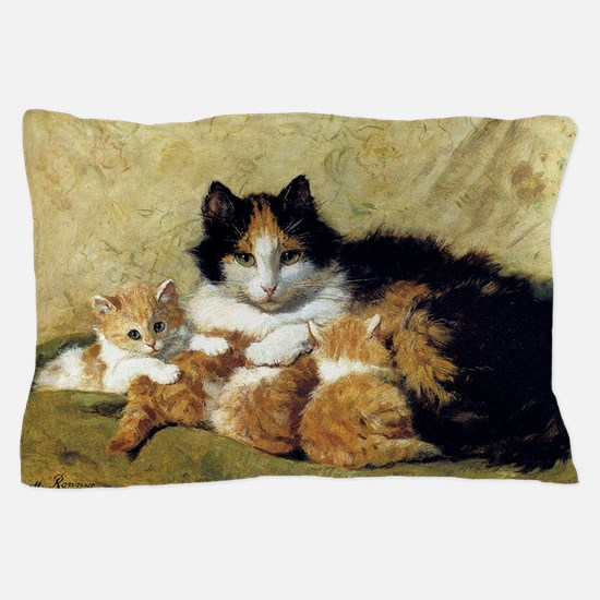 Mother Cat and Kittens, Vintage Art Pillow Case