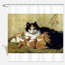 Mother Cat And Kittens, Vintage Art Shower Curtain