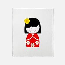 Asian Girl Throw Blanket