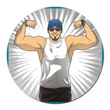 Cute Fitness Round Car Magnet