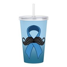 Prostate Awareness Ribbon Moustache Acrylic Double