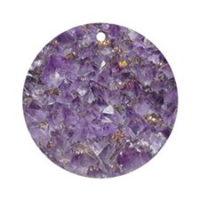 Cute Amethyst crystal gemstone Ornament (Round)