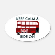 Keep Calm & Ride On Oval Car Magnet