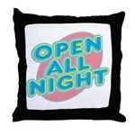 Open All Night Neon Sign Graphic Throw Pillow