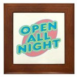 Open All Night Neon Sign Graphic Framed Tile