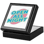 Open All Night Neon Sign Graphic Keepsake Box