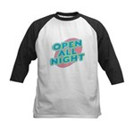 Open All Night Neon Sign Graphic Kids Baseball Jer