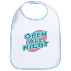Open All Night Neon Sign Graphic Bib