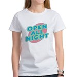 Open All Night Neon Sign Graphic Women's T-Shirt