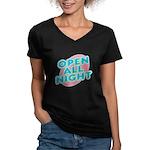 Open All Night Neon Sign Graphic Women's V-Neck Da