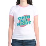 Open All Night Neon Sign Graphic Jr. Ringer T-Shir