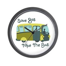 Save Gas, Take The Bus Wall Clock