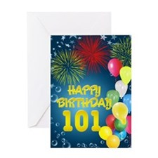 101st birthday, with fireworks and balloons Greeti
