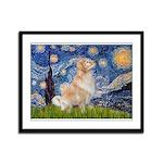 Starry Night & Golden Framed Panel Print