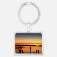 Silhouttes At Sunset Landscape Keychain